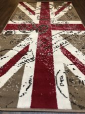NOVELTY RANGE 80X150CM STAMPED UNION JACK RUG-MAT TOP QUALITY BEIGE/BROWN/RED